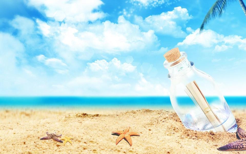 沙滩海星漂流瓶风景桌面壁纸-电脑桌面壁纸_壁纸 .