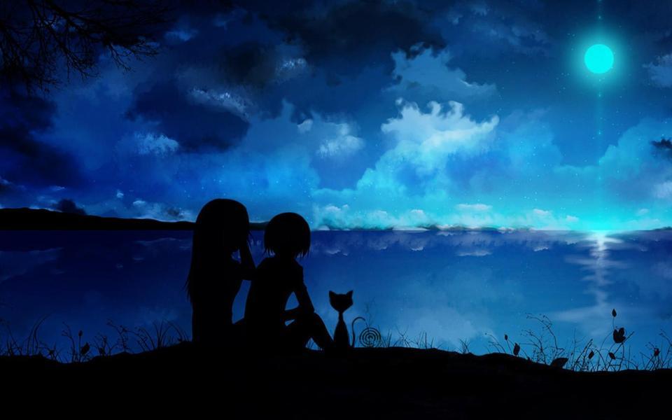 寂静星空下的情侣卡通桌面壁纸-电脑桌面壁纸_壁纸 .