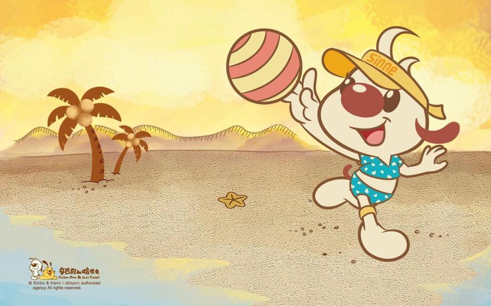 辛巴狗和哈米兔沙滩排球卡通桌面壁纸