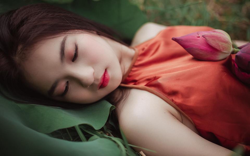 荷花美丽的江南女子美女壁纸