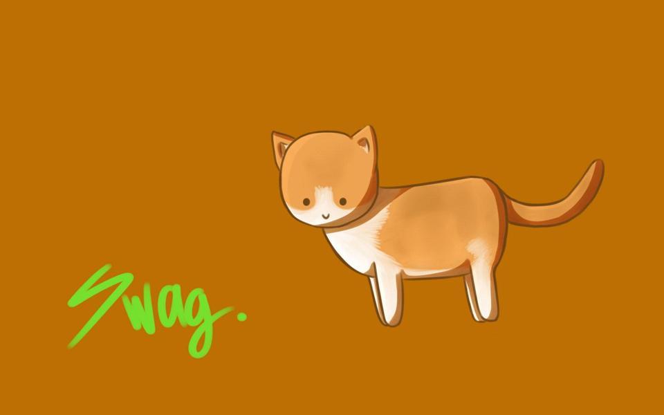 卡通简笔画可爱小猫咪壁纸-电脑桌面壁纸