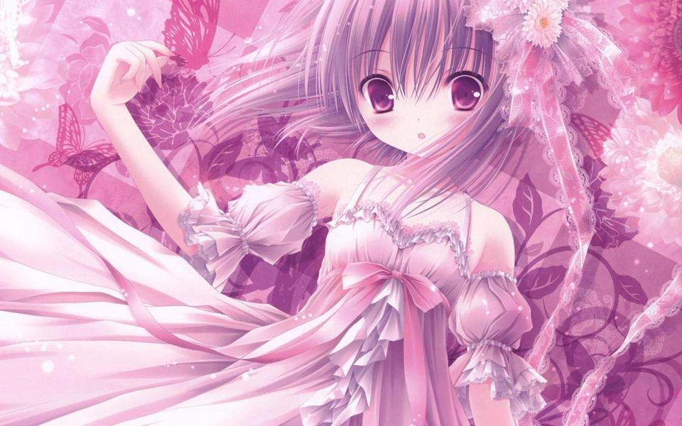 粉色动漫美女高清壁纸