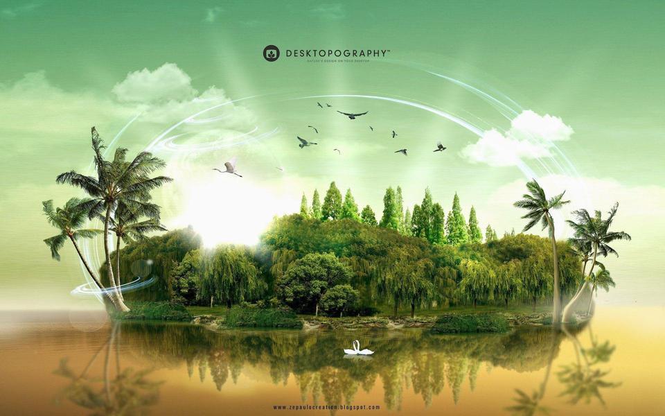 三维立体岛屿仙境高清风景桌面壁纸