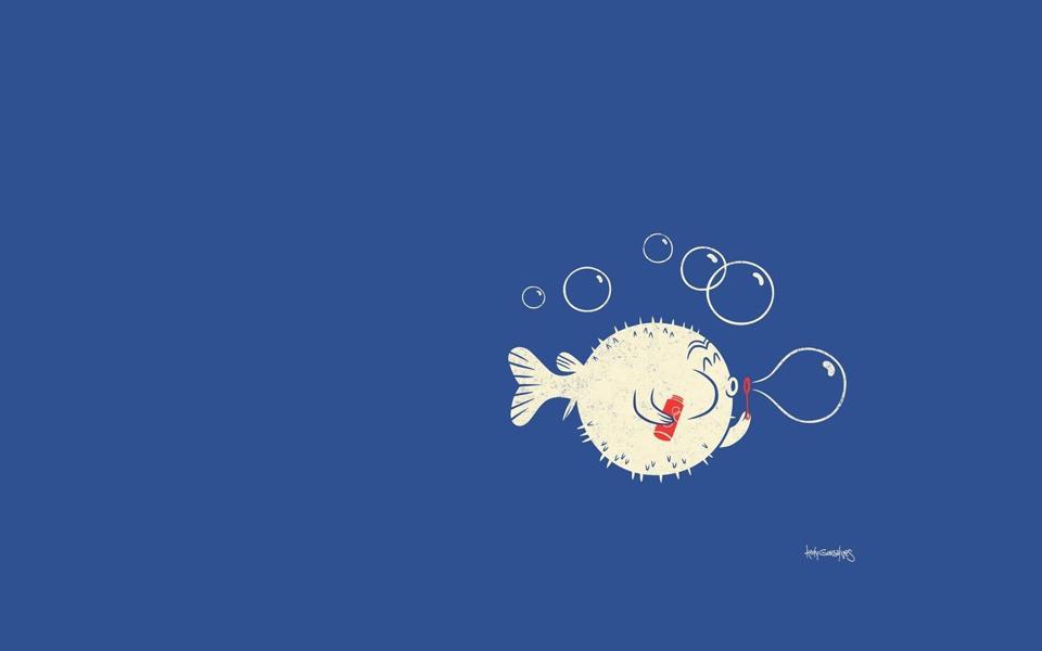 简约吹泡泡的小鱼桌面壁纸-电脑桌面壁纸_壁纸大全