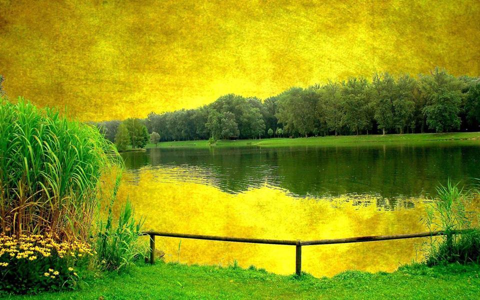 春天绿色的山水画风景壁纸