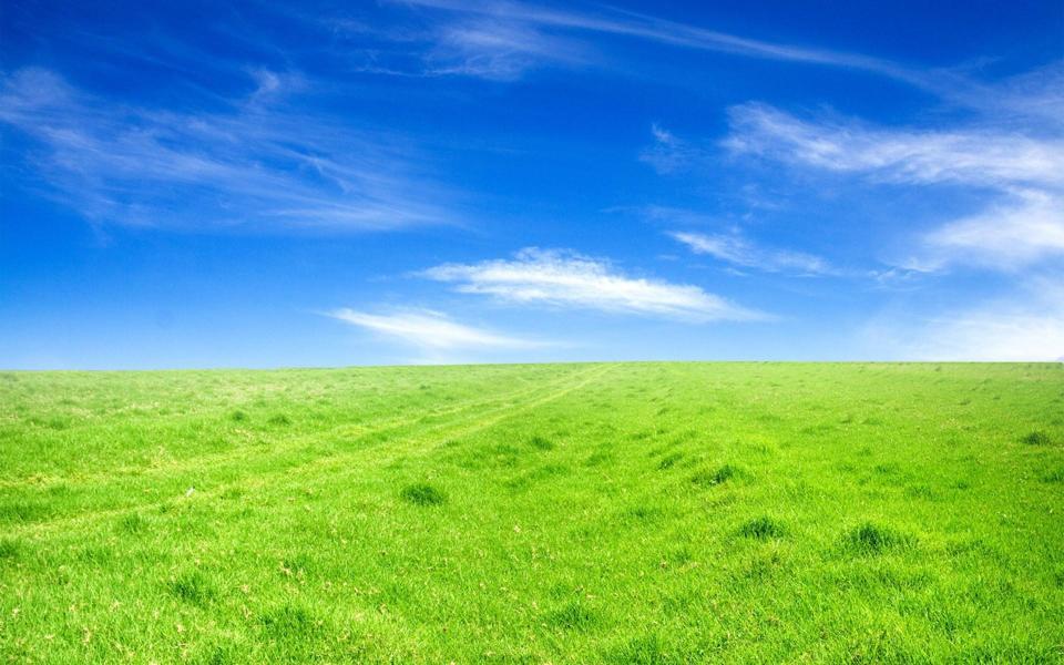 蓝天下草原高清自然桌面壁纸