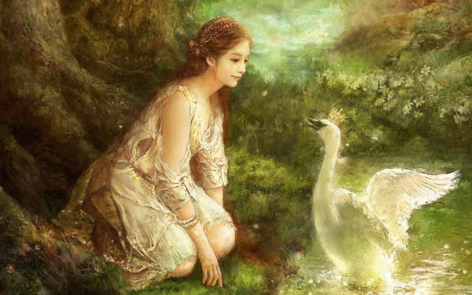 公主白天鹅绘画桌面壁纸