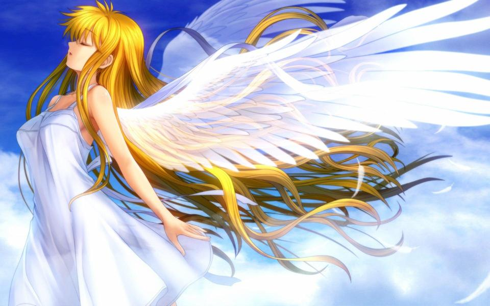 美丽的白色天使卡通桌面壁纸
