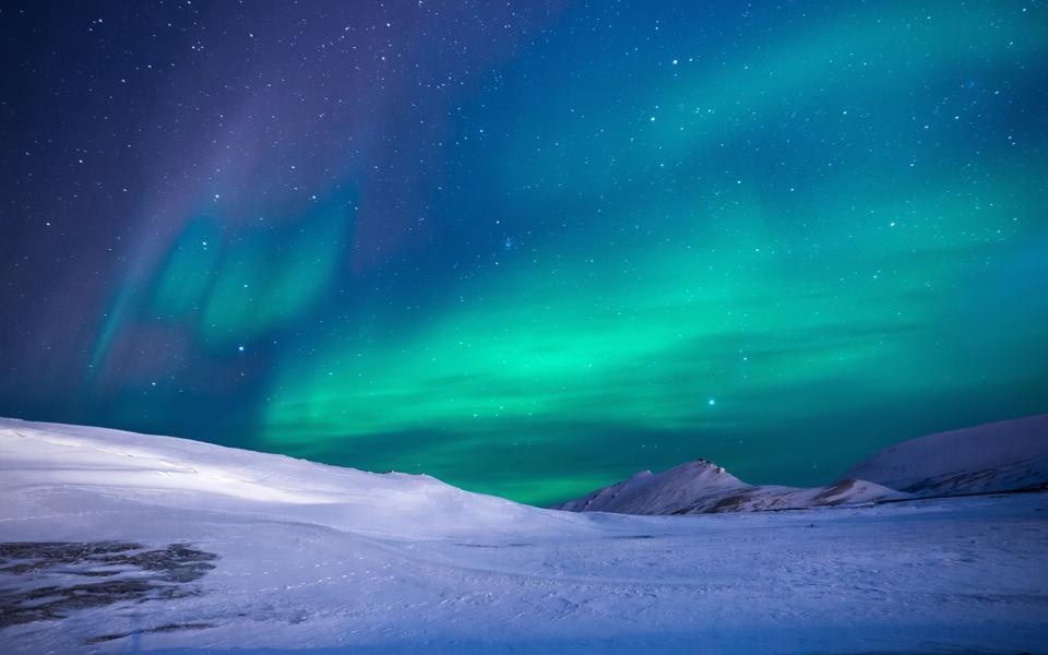 星空 北极光 冰川壁纸
