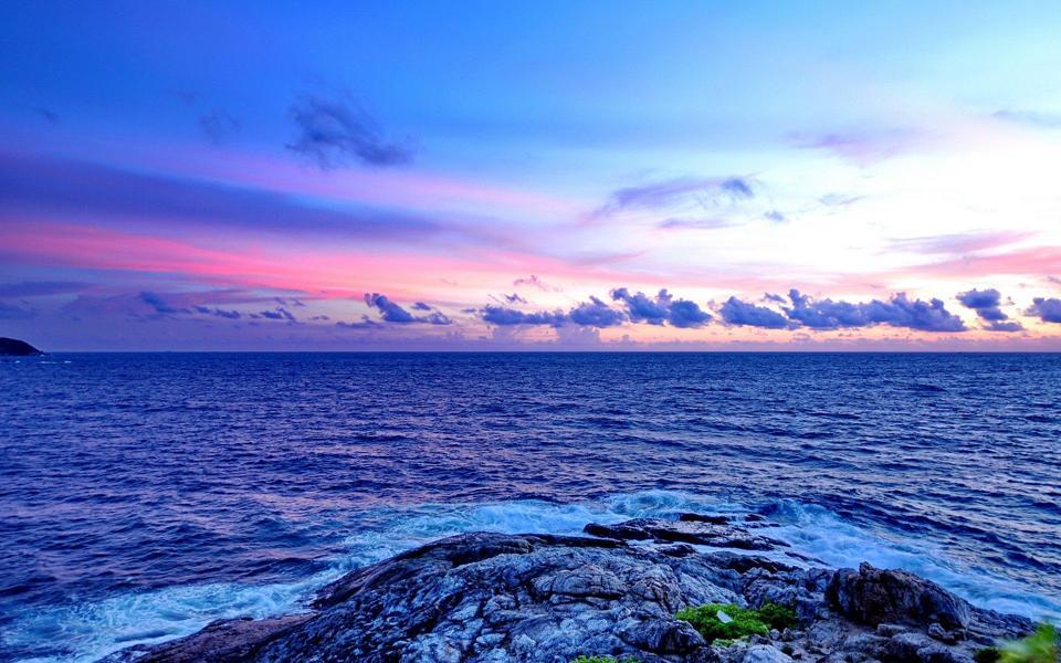 唯美蓝色大海高清壁纸图
