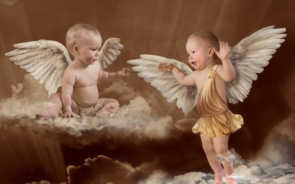 插着翅膀的天使宝贝创意电脑壁纸