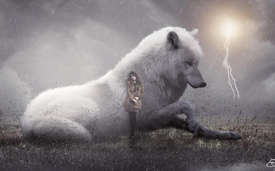 雪白的狼与美女高清超唯美壁纸