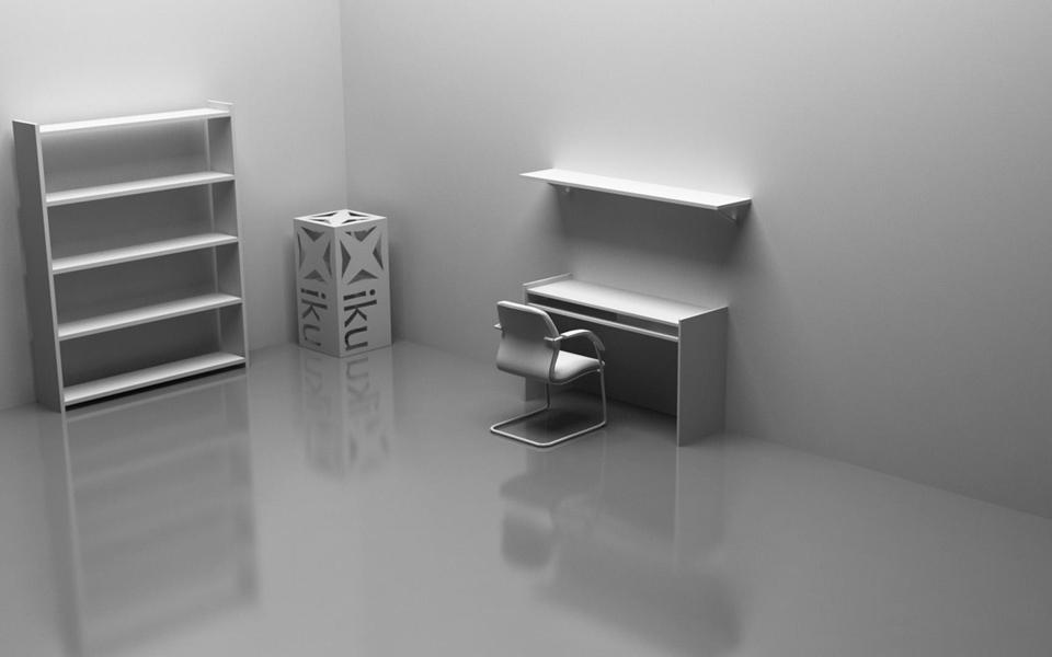 室内一角电脑桌和书架设计桌面壁纸