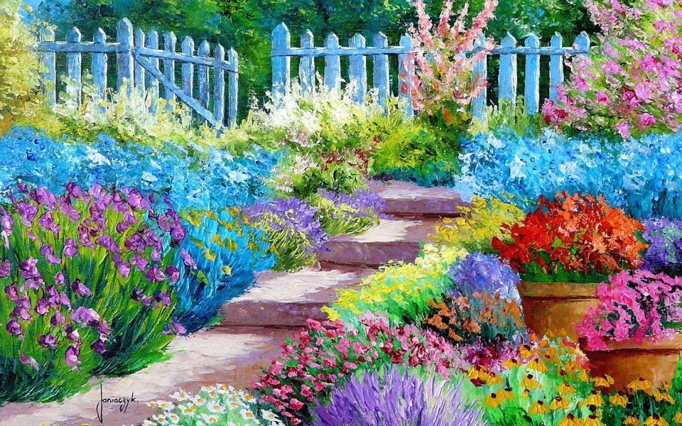 好看的动态花朵图片_春天的花园高清油画壁纸