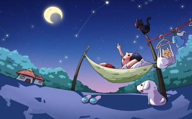夜幕下数星星的孩子卡通壁纸桌面
