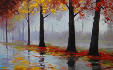 秋雨过后精美绘画桌面壁纸