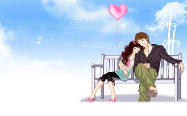 小清新浪漫情侣桌面背景图片