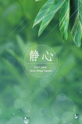 保持静心的态度绿色护眼手机壁纸