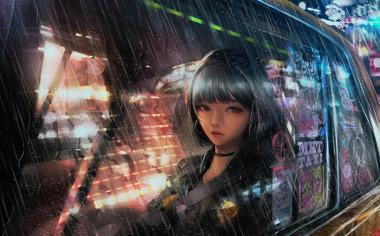 雨天午夜回家的女孩动漫壁纸