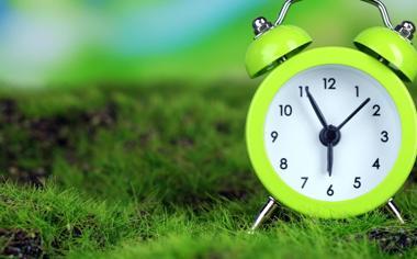 绿色护眼草地的时钟风景桌面壁纸