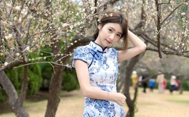美丽的旗袍美女刘子涵桌面壁纸