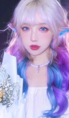 梦幻冰紫色星空少女头像手同壁纸1
