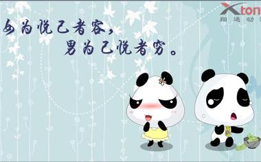 可爱的卡通熊猫桌面背景图片4
