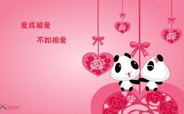 可爱的卡通熊猫桌面背景图片8